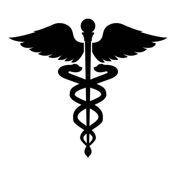 カドゥケウス健康シンボル アスクレピオスの杖アイコン黒カラー イラスト フラット スタイル シンプルなイメージ - ヘルメスの杖点のイラスト素材/クリップアート素材/マンガ素材/アイコン素材