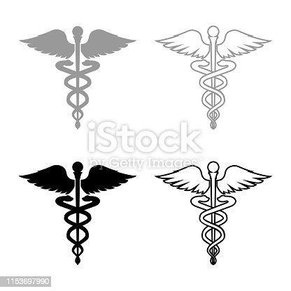Caduceus health symbol Asclepius's Wand icon set grey black color outline
