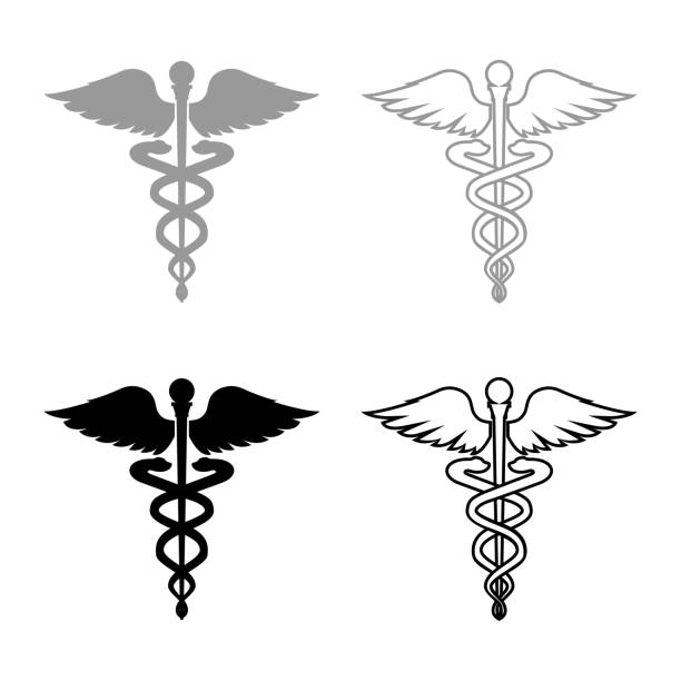 caduceus health symbol asclepius's wand icon set grey black color - health stock illustrations
