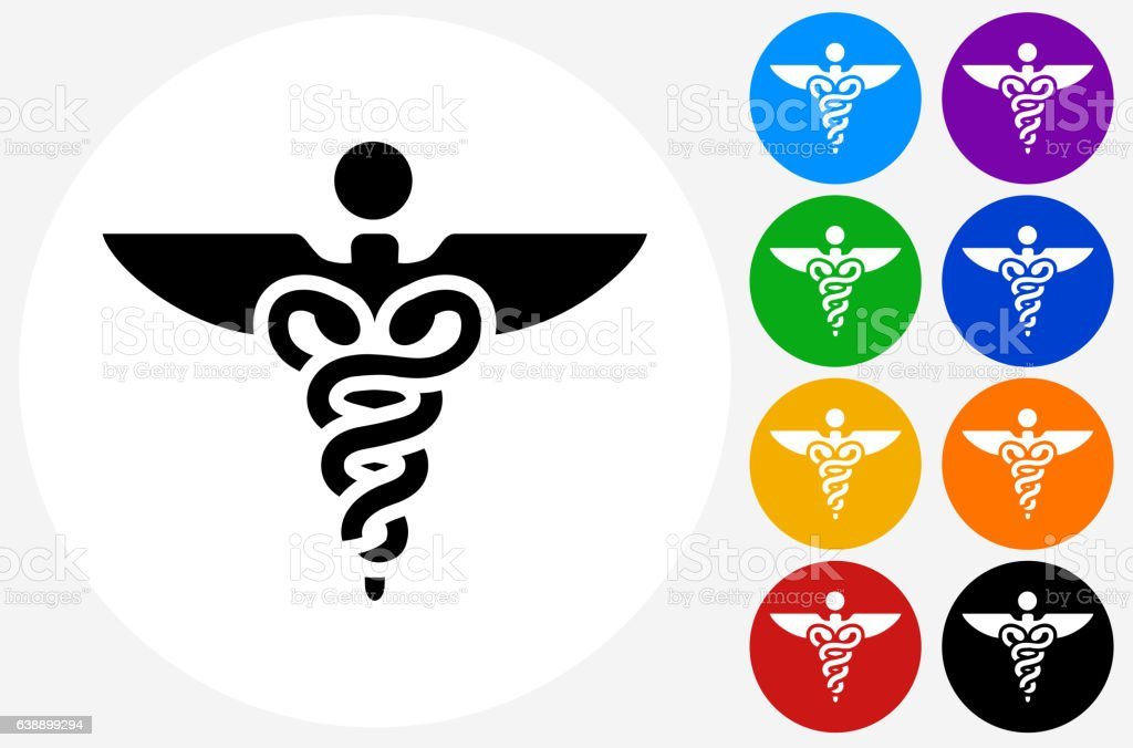 Caduceus Icon on Flat Color Circle Buttons vector art illustration