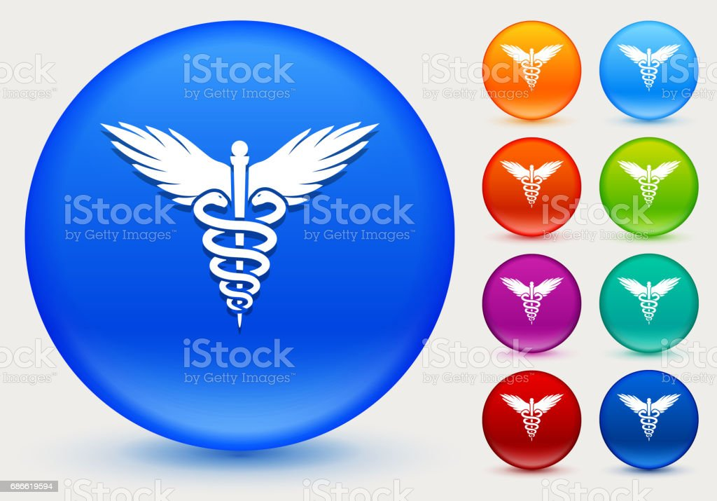 Caduceus Icon on Shiny Color Circle Buttons royalty-free caduceus icon on shiny color circle buttons stock vector art & more images of animal body part