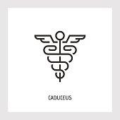 Caduceus icon. Thin line vector sign.