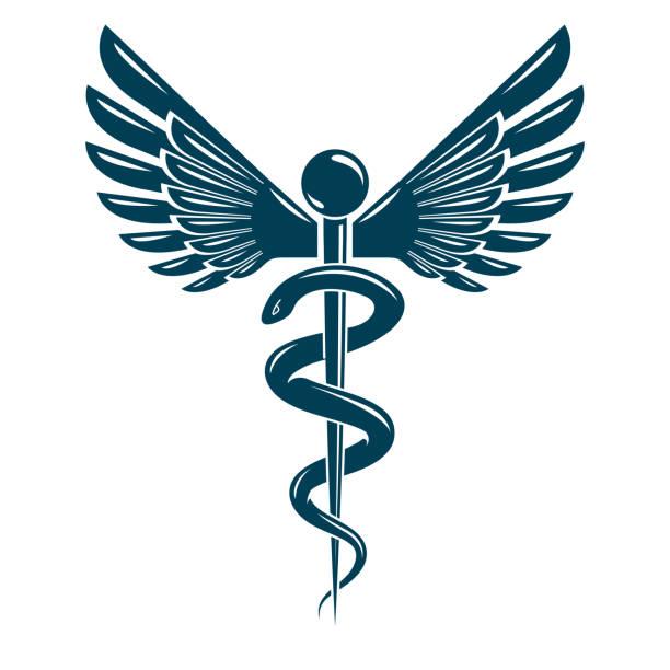 illustrazioni stock, clip art, cartoni animati e icone di tendenza di caduceus medical symbol, graphic vector emblem created with wings and snakes. - ancient medical symbol