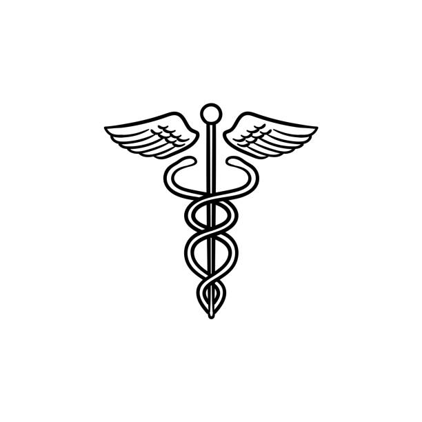 illustrazioni stock, clip art, cartoni animati e icone di tendenza di caduceus medical symbol hand drawn outline doodle icon - ancient medical symbol