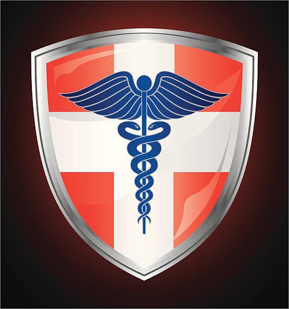 ilustraciones, imágenes clip art, dibujos animados e iconos de stock de caduceo símbolo médico shield - técnico en urgencias médicas