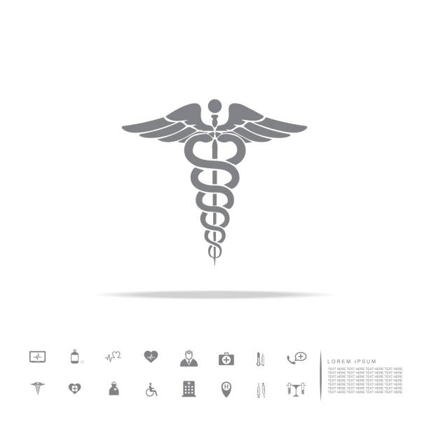 ilustraciones, imágenes clip art, dibujos animados e iconos de stock de caduceo símbolo médico - logos de médico