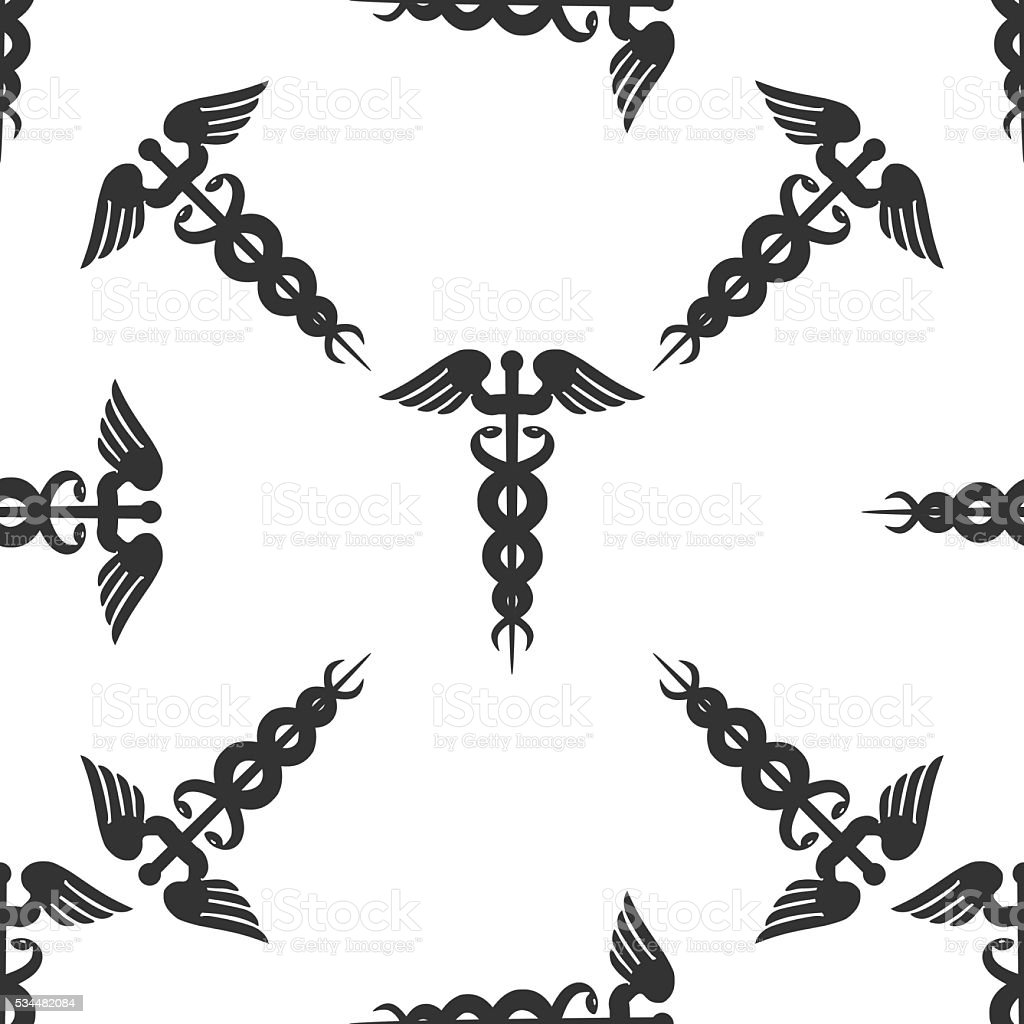 Caduceus Medical Symbol With Long Shadow Emblem For Drugstore O