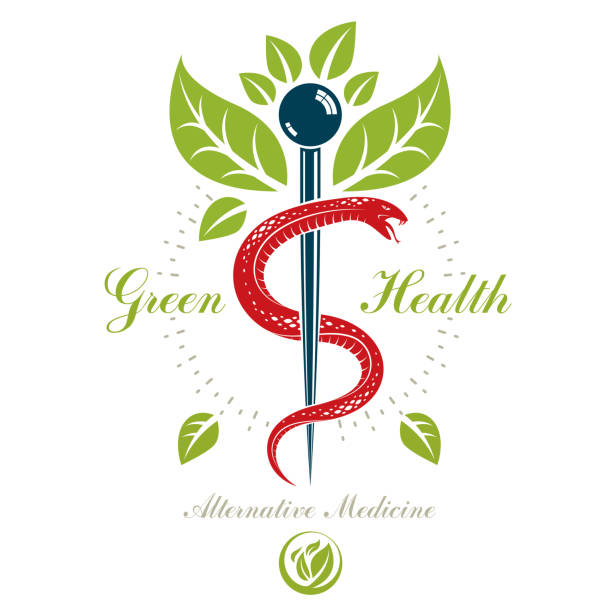 illustrazioni stock, clip art, cartoni animati e icone di tendenza di caduceus symbol, healthcare conceptual vector sign. homeopathy creative emblem. - ancient medical symbol