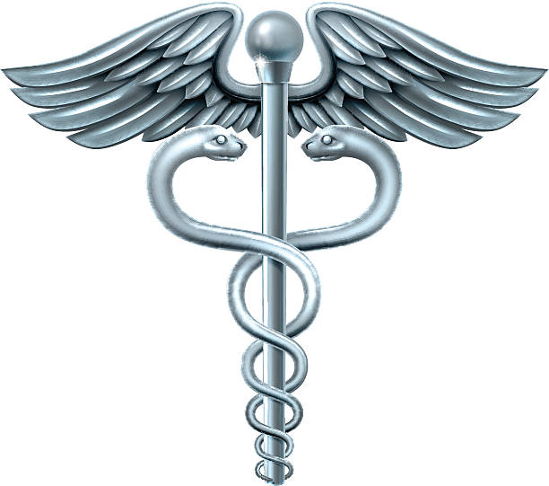 Caduceus Symbol Caduceus medical symbol or symbol for commerce featuring intertwined snakes around a winged rod mercury metal stock illustrations