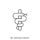 Caduceus Symbol with Editable Stroke and Pixel Perfect.