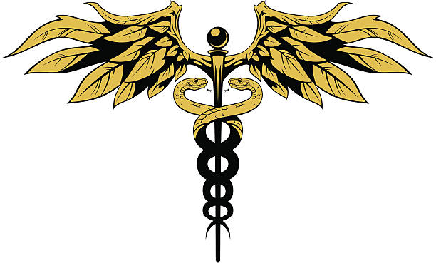 Caduceus Stylized high quality medical simbol. Easy to change color. CorelDRAW 10 and transparent PNG included. snakes tattoos stock illustrations