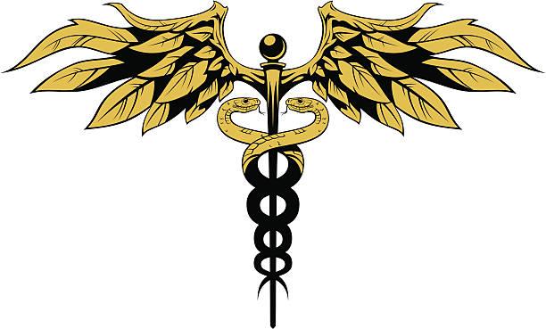 ilustraciones, imágenes clip art, dibujos animados e iconos de stock de caduceo - tatuajes de serpientes