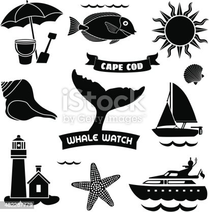 Vector icons with a cape Cod theme.