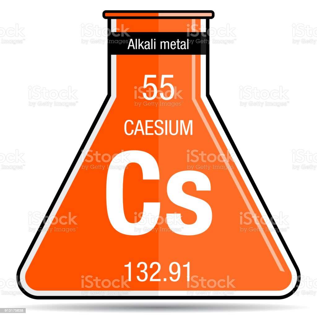 Caesium Symbol On Chemical Flask Element Number 55 Of The Periodic