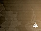 A vector coffee stained background with a textured canvas effect.