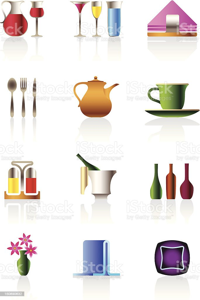 Café bar and restaurant icons royalty-free stock vector art