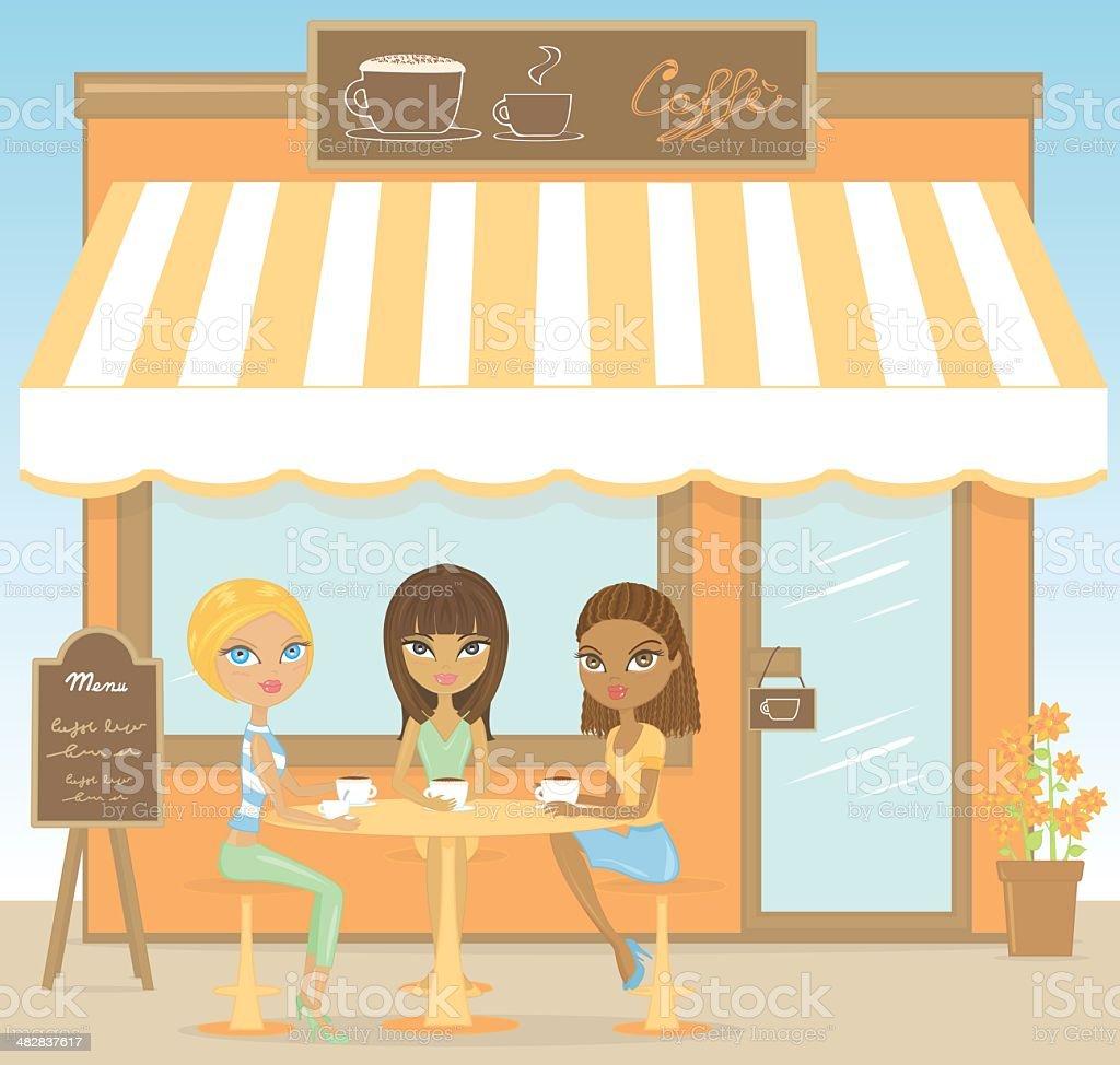 Cafè : Girls coffee break royalty-free stock vector art