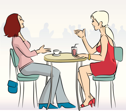 Café girls (vector & jpg)