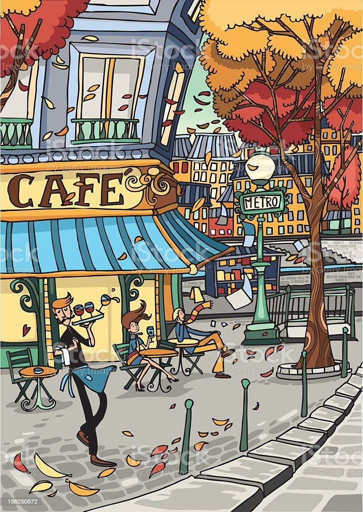 Cafè de Paris vector art illustration