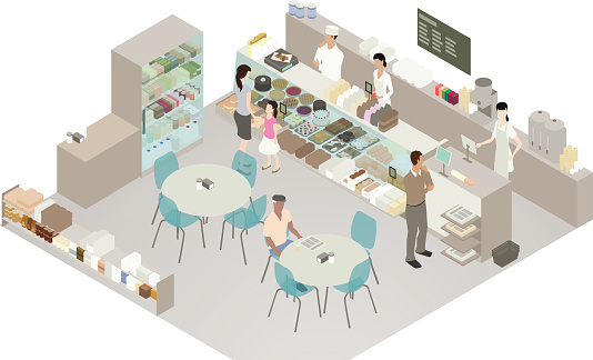 Cafe and bakery detailed illustration