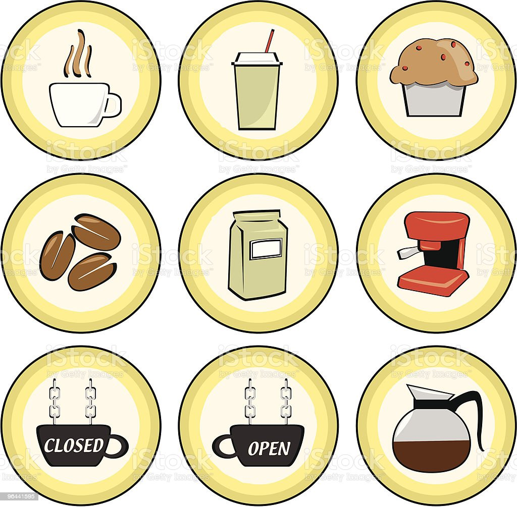 Cafe and coffee shop icons royalty-free stock vector art