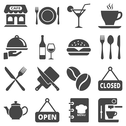 Cafe and restaurant icon set isolated on white background. Vector illustration.