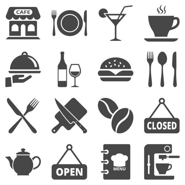 cafe und restaurant-ikone auf weißem hintergrund isoliert. vektor-illustration. - restaurant stock-grafiken, -clipart, -cartoons und -symbole