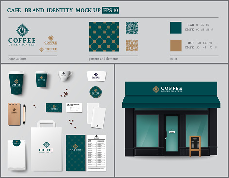 Cafe and showcase brand identity template design set.