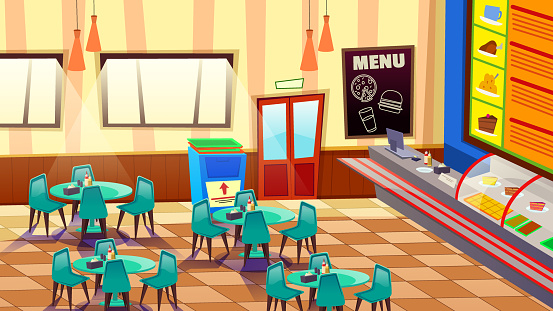 Cafe Bar or Bakery Interior with Tables and Chairs
