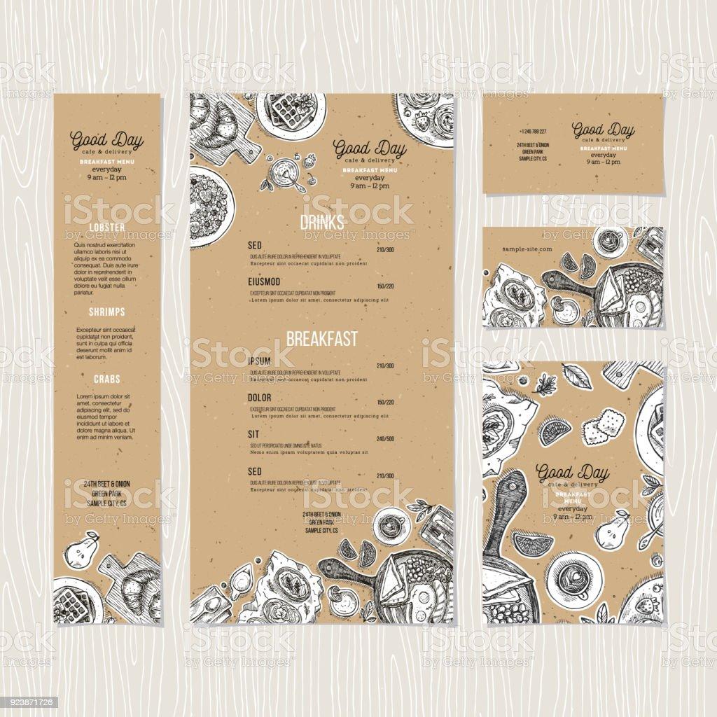 Cafe breakfast menu cardboard template. Cafe identity. Vector illustration