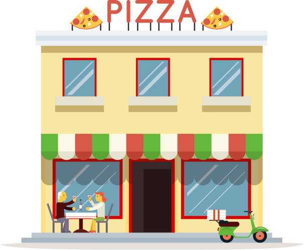 Cafe Building Facade Customer Pizza Serving Dish Icon Background Flat Design Vector Illustration Art