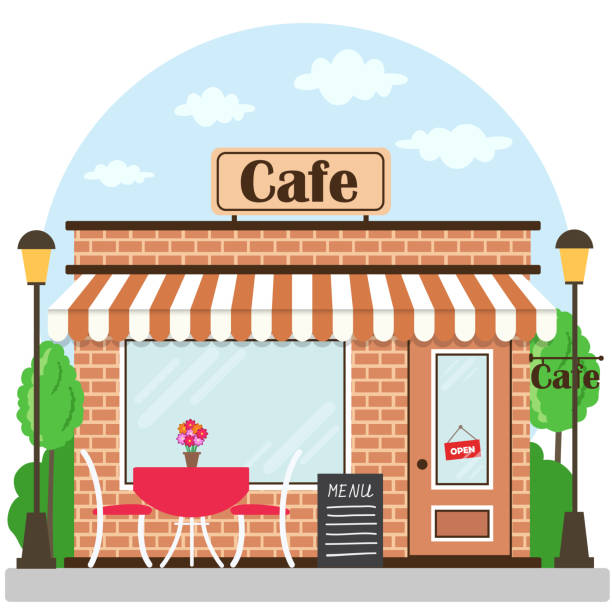 Cafe Building Facade With Signboard Vector Art Illustration