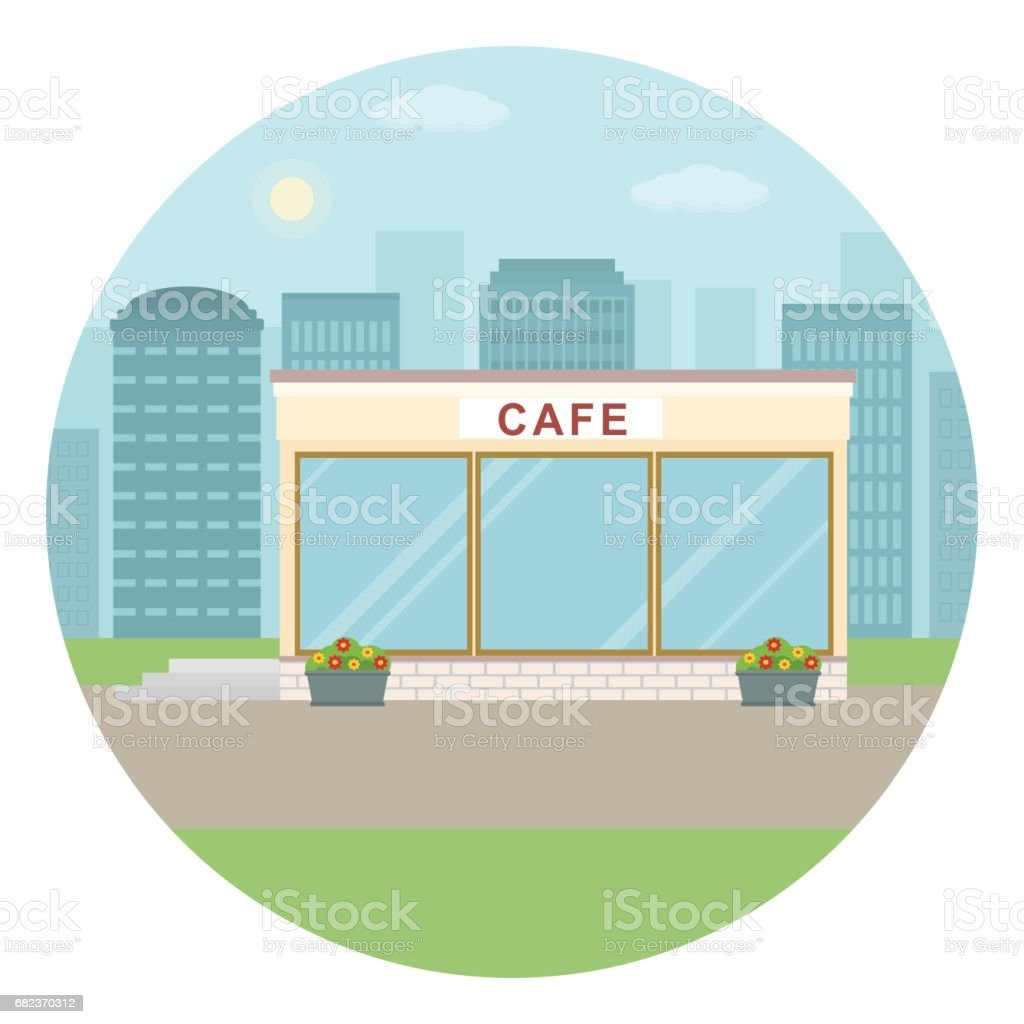 Cafe building on city background. cafe building on city background - immagini vettoriali stock e altre immagini di affari royalty-free