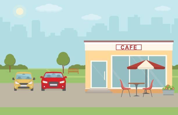 cafe mit parkplatz auf stadt hintergrund gebäude. - lampenshop stock-grafiken, -clipart, -cartoons und -symbole
