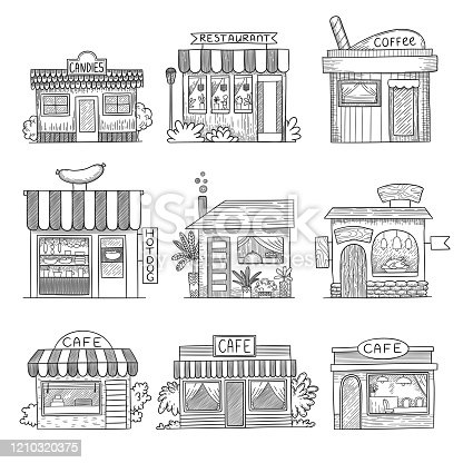 Cafe buildings. Hand drawn shop restaurants small vector buildings set. Illustration building architecture, sketch storefront, facade and showcase