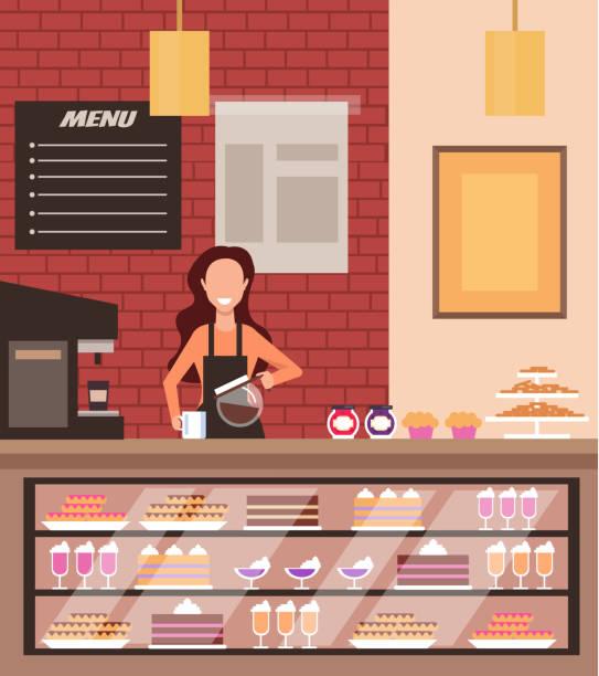 stockillustraties, clipart, cartoons en iconen met cafe candy cake coffee shopconcept. vector platte cartoon graphic design illustratie - voedsel en drank serveren