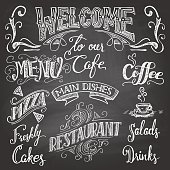 Set of hand-drawn lettering for cafes and restaurants on the chalkboard background