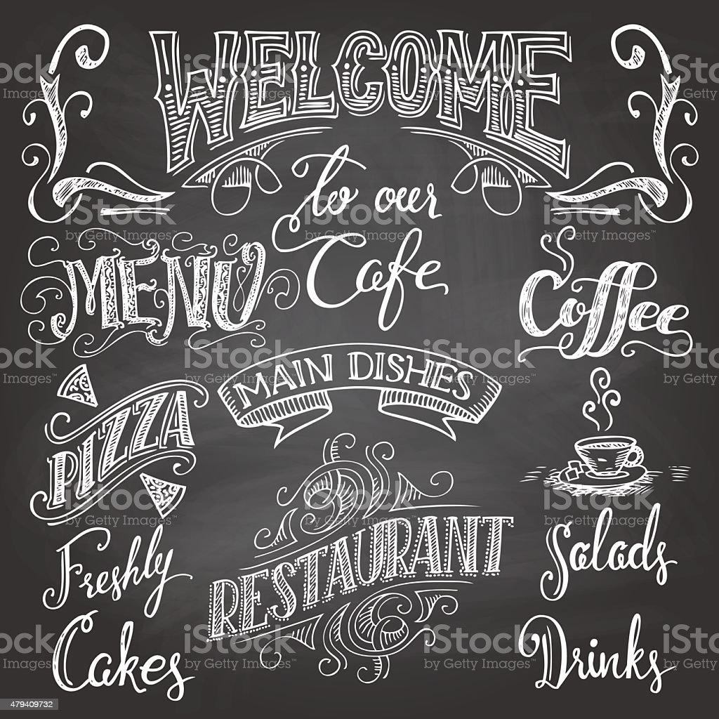 Cafe chalkboard hand-lettering vector art illustration
