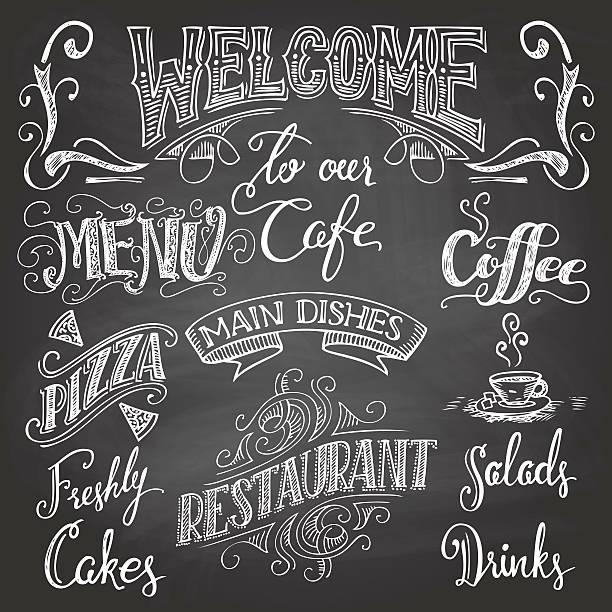 cafe tafel hand-schriftzug - salatbar stock-grafiken, -clipart, -cartoons und -symbole