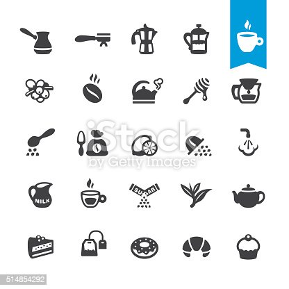 Cafe, Coffee and Tea related icons BASE pack #54