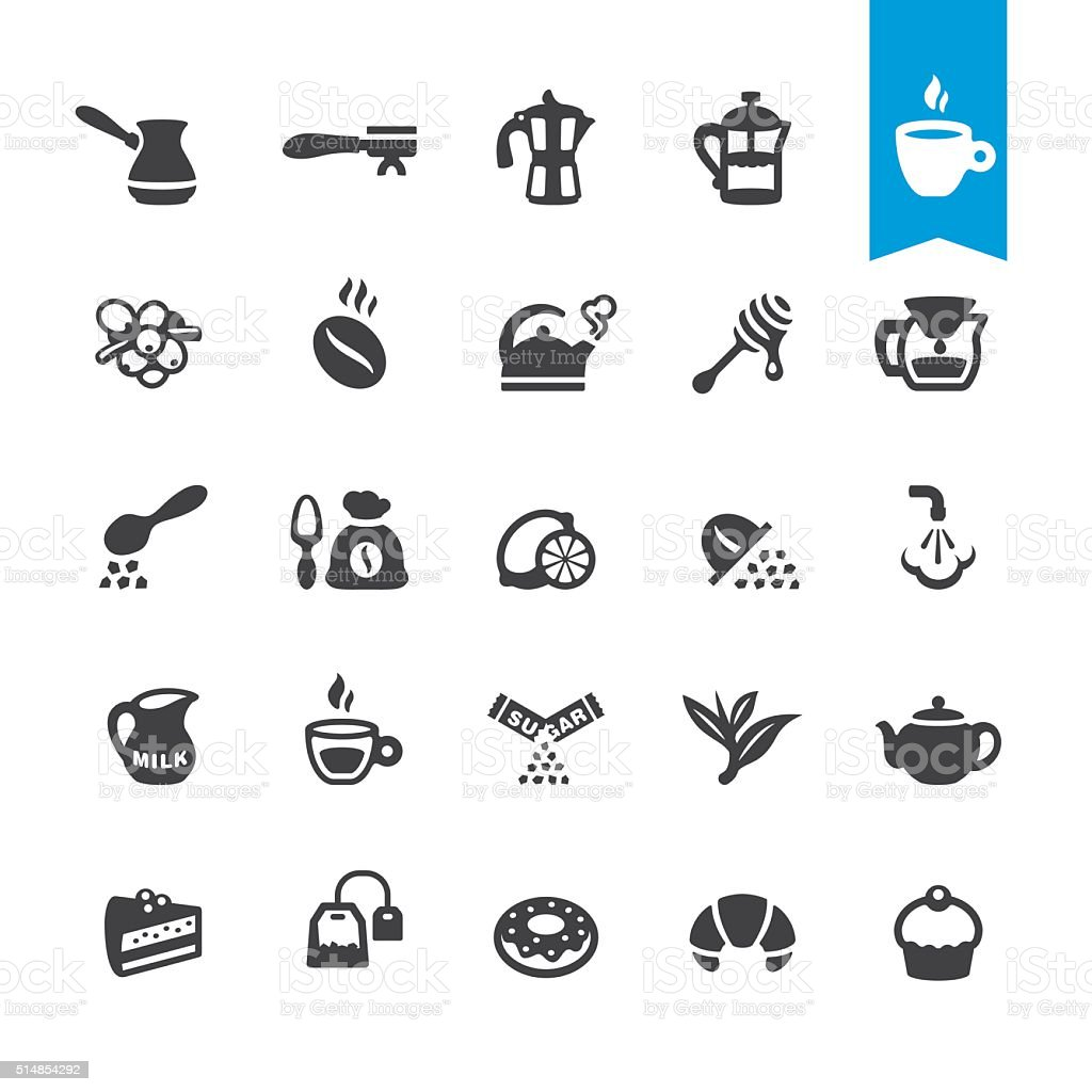 Cafe, Coffee and Tea vector icons vector art illustration