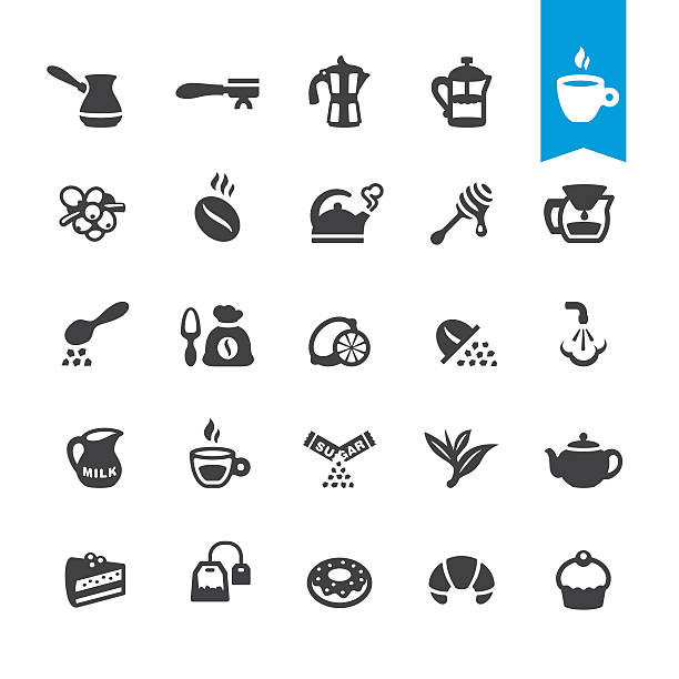 cafe, coffee and tea vector icons - barista stock illustrations, clip art, cartoons, & icons