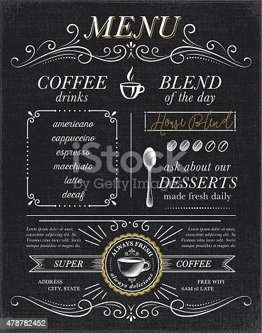 Cafe, coffee shop menu concept on black background. EPS10 file contains transparencies.  AI10 file and hi res jpeg included. Scroll down to see more illustrations linked below.