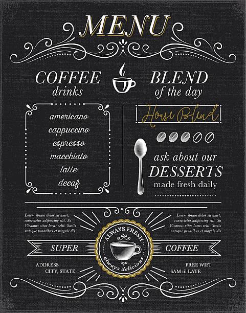 ilustrações de stock, clip art, desenhos animados e ícones de de café, café menu conceito - coffe shop