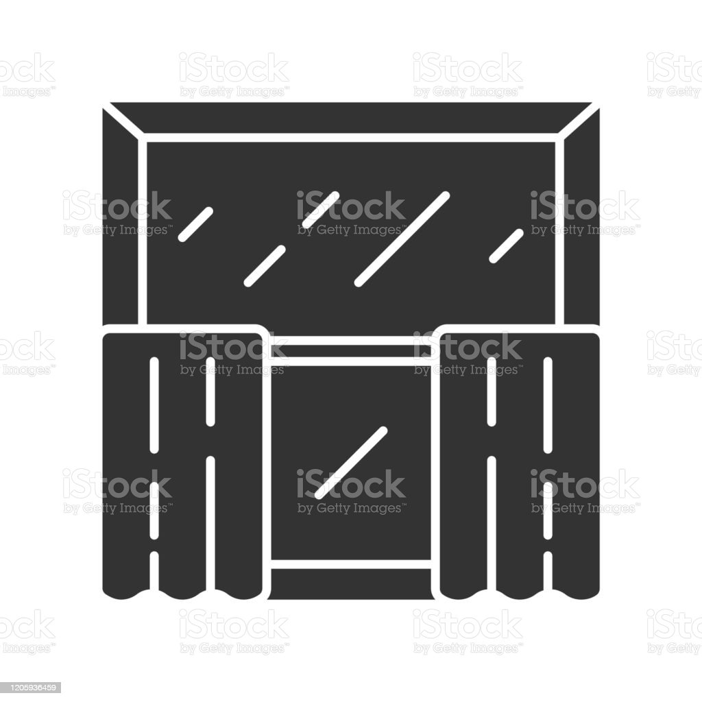 Cafe Curtains Glyph Icon Kitchen Decor Tiers Hanging On Cafe Curtain Rods Home Interior Design Window Treatments Coverings Silhouette Symbol Negative Space Vector Isolated Illustration Stock Illustration Download Image Now Istock