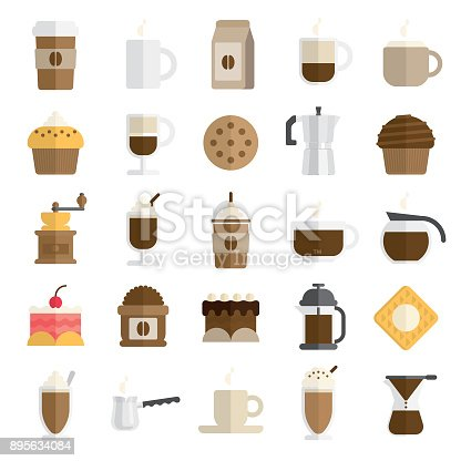 A set of 25 coffee related icons in flat and modern style