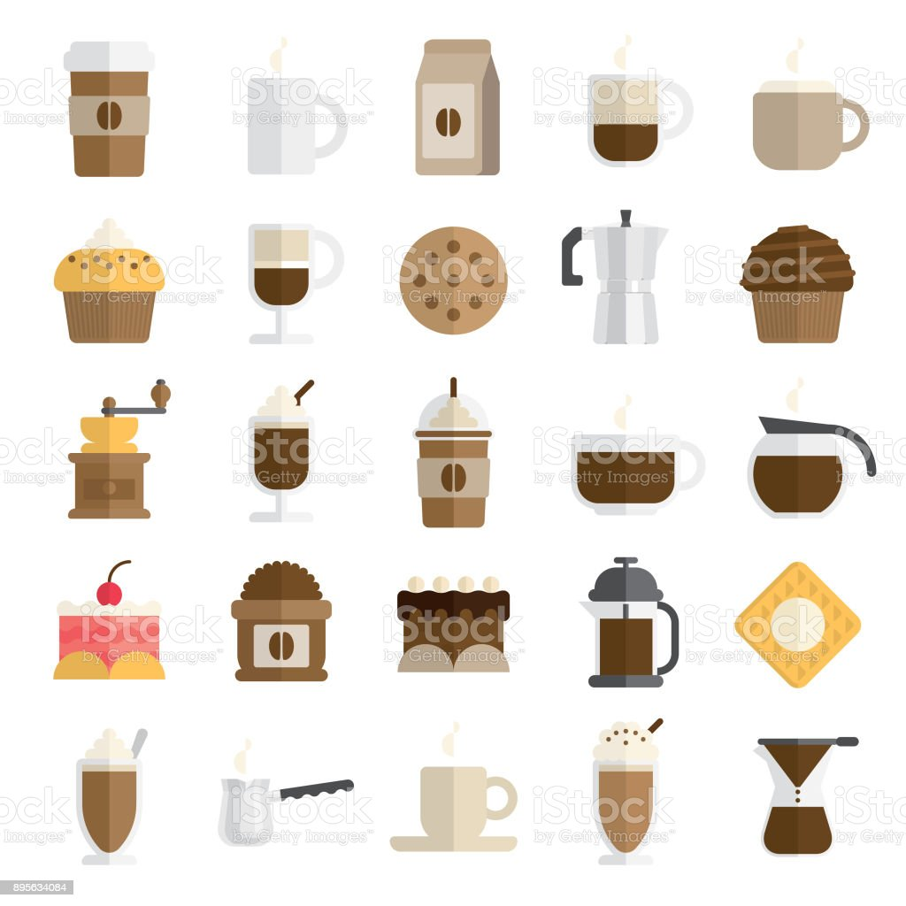 cafe icon set in flat and modern style vector art illustration