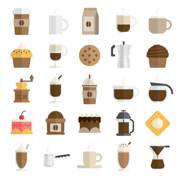 cafe icon set in flat and modern style - coffee stock illustrations, clip art, cartoons, & icons