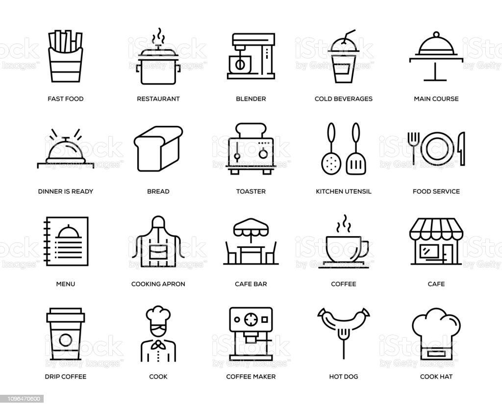 Cafe-Icon-Set - Lizenzfrei Architektur Vektorgrafik