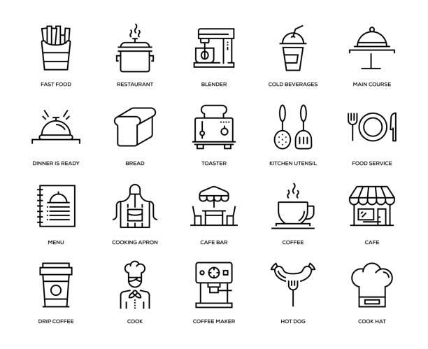 zestaw ikon kawiarni - bar lokal gastronomiczny stock illustrations
